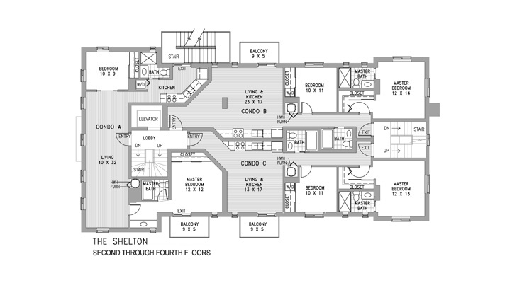 Condo Floors Two Through Four Floor Plan
